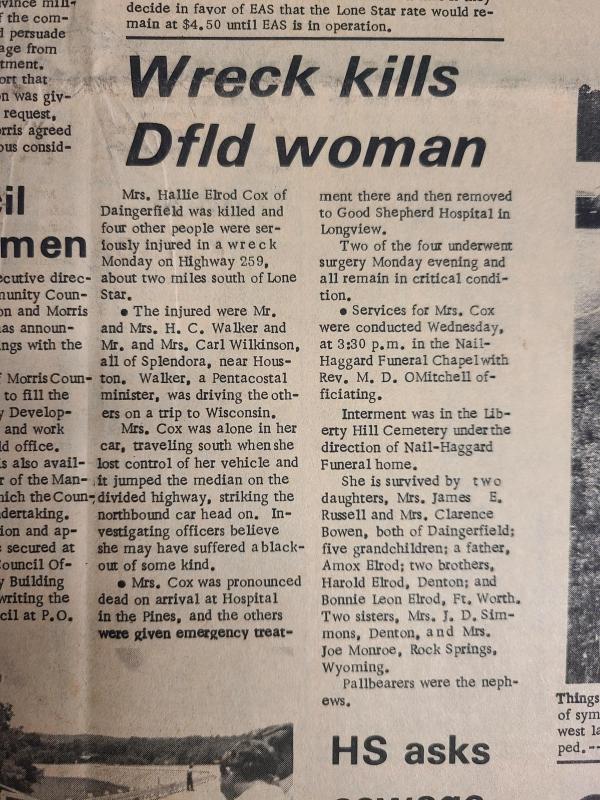 Wreck kills Daingerfield Woman-July 9, 1970