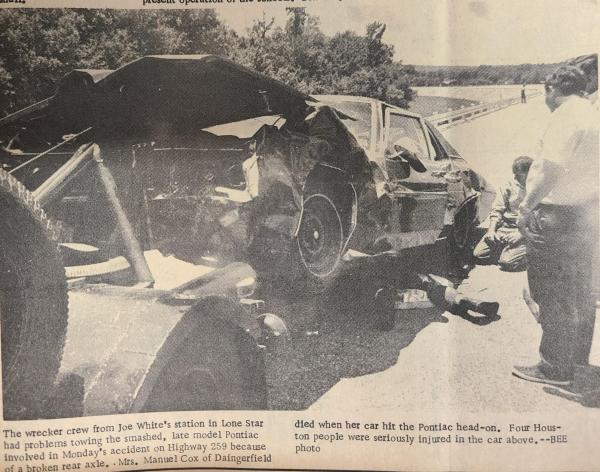 The late model Pontiac was hit head on by a vehicle driven by Mrs. Manuel Cox of Daingerfield. Mrs. died in the crash