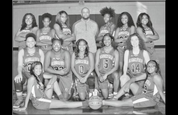 The Daingerfield lady Tigers remained unbeaten in District 15-3A play with a come from behind win against Waskom Jan. 7. The team consists of (front row) Diamond Jeter, Tyler Hayden; (middle row) Malayah Everett, Genesis Allen, Joi Akinsuroju, Ashlyn Bruc